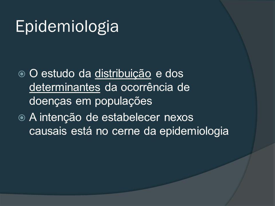Epidemiologia O estudo da distribuição e dos determinantes da ocorrência de doenças em populações.