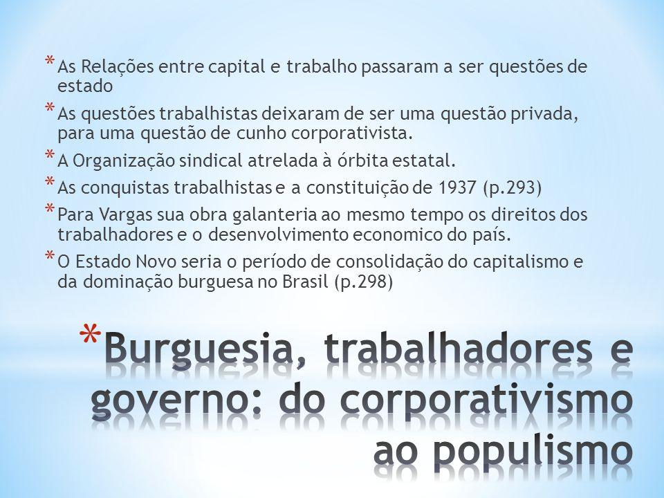 Burguesia, trabalhadores e governo: do corporativismo ao populismo