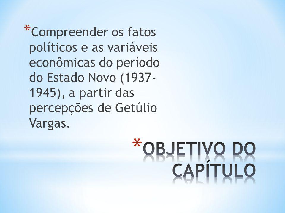 Compreender os fatos políticos e as variáveis econômicas do período do Estado Novo (1937- 1945), a partir das percepções de Getúlio Vargas.