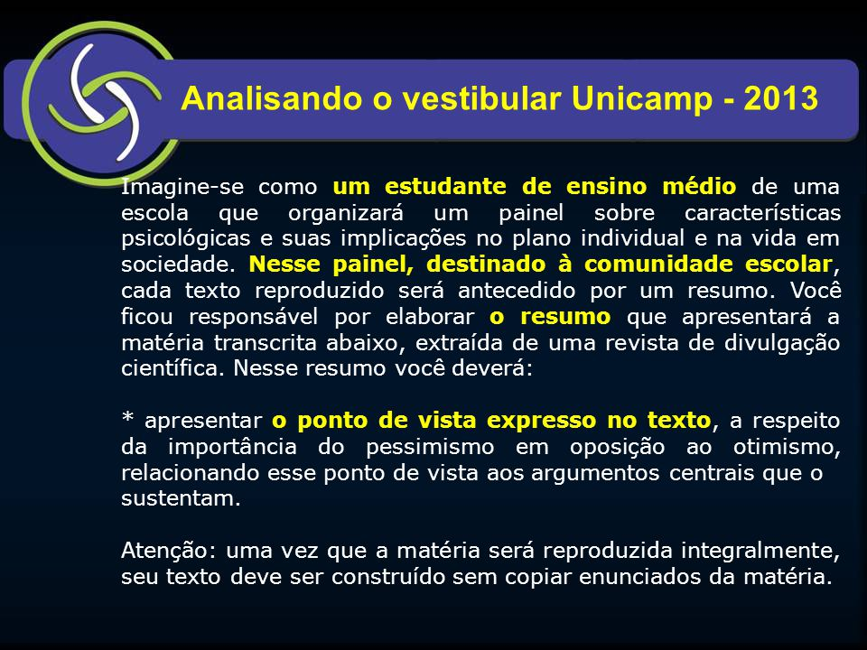 Analisando o vestibular Unicamp - 2013