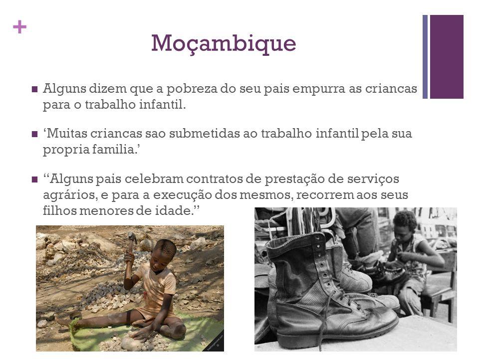 Moçambique Alguns dizem que a pobreza do seu pais empurra as criancas para o trabalho infantil.