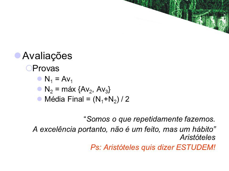 Avaliações Provas N1 = Av1 N2 = máx {Av2, Av3}