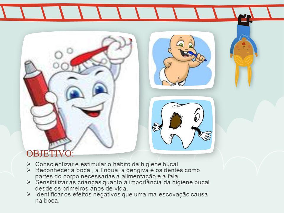 OBJETIVO: Conscientizar e estimular o hábito da higiene bucal.