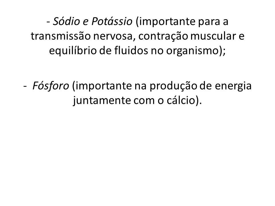 - Fósforo (importante na produção de energia juntamente com o cálcio).
