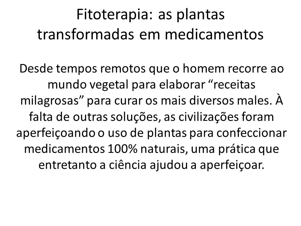 Fitoterapia: as plantas transformadas em medicamentos