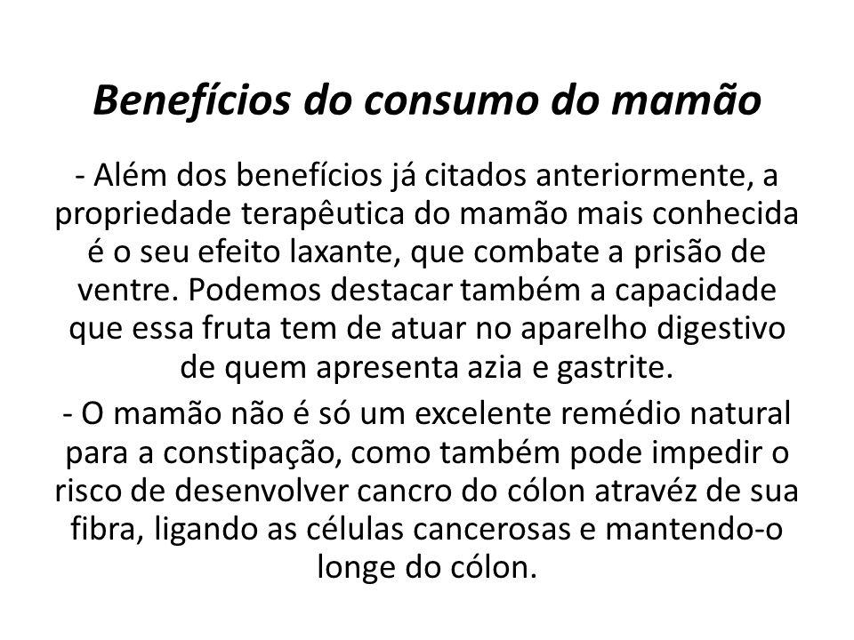 Benefícios do consumo do mamão
