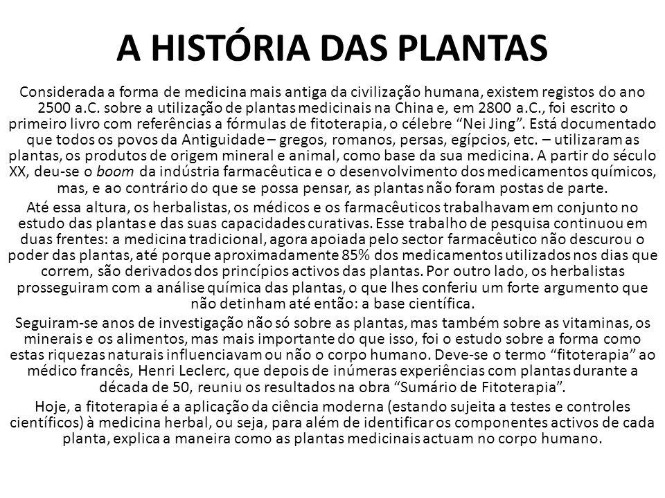 A HISTÓRIA DAS PLANTAS