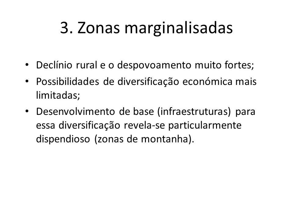 3. Zonas marginalisadas Declínio rural e o despovoamento muito fortes;