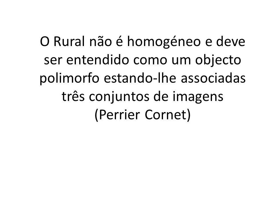O Rural não é homogéneo e deve ser entendido como um objecto polimorfo estando-lhe associadas três conjuntos de imagens (Perrier Cornet)