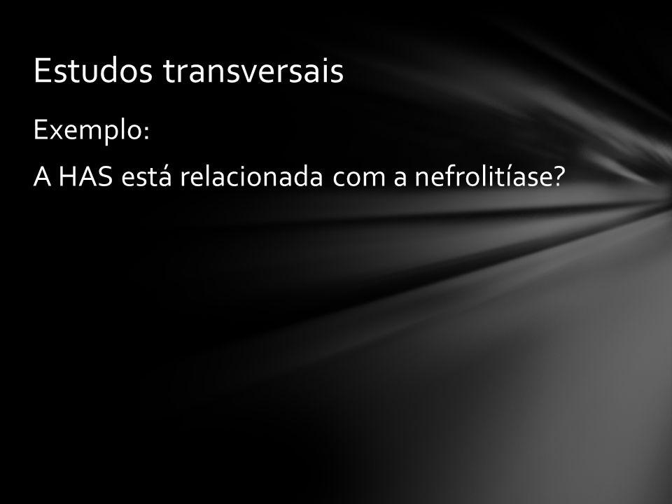 Estudos transversais Exemplo: A HAS está relacionada com a nefrolitíase