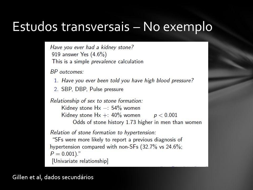 Estudos transversais – No exemplo
