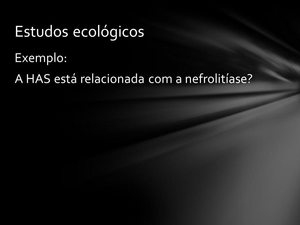 Estudos ecológicos Exemplo: A HAS está relacionada com a nefrolitíase