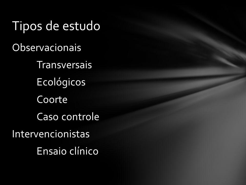 Tipos de estudo Observacionais Transversais Ecológicos Coorte Caso controle Intervencionistas Ensaio clínico