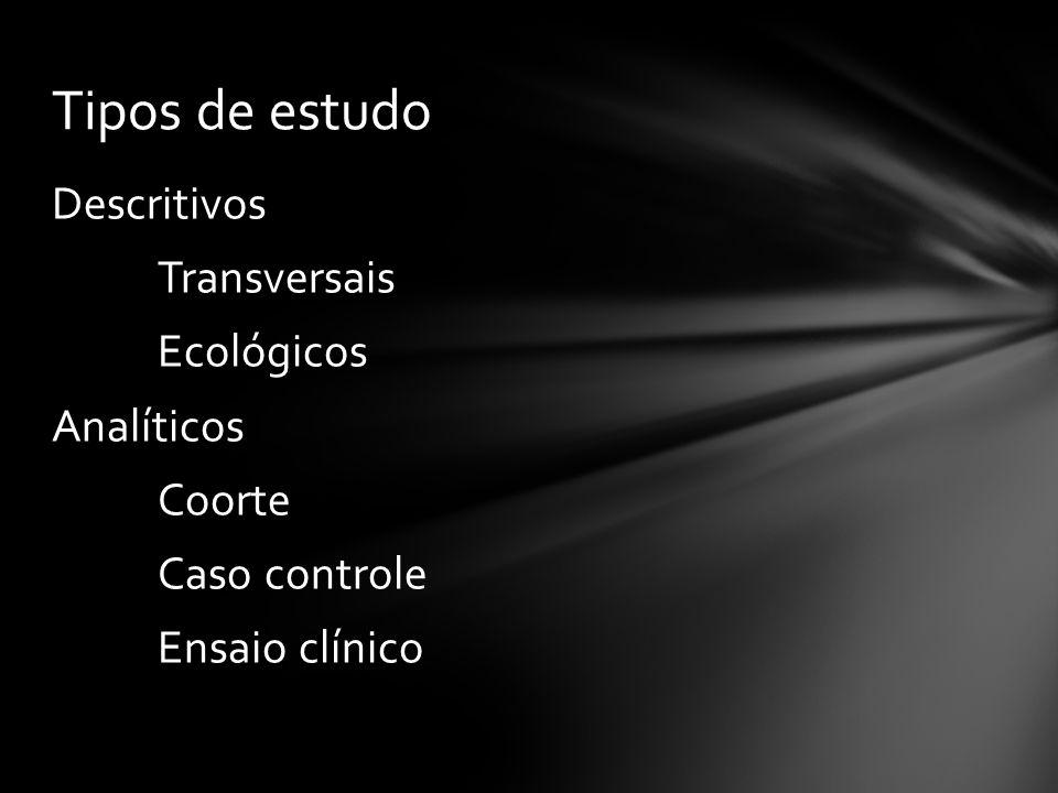 Tipos de estudo Descritivos Transversais Ecológicos Analíticos Coorte Caso controle Ensaio clínico