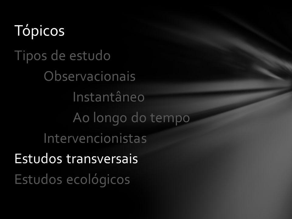 Tópicos Tipos de estudo Observacionais Instantâneo Ao longo do tempo Intervencionistas Estudos transversais Estudos ecológicos