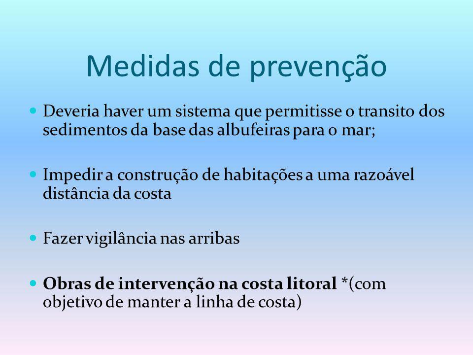 Medidas de prevenção Deveria haver um sistema que permitisse o transito dos sedimentos da base das albufeiras para o mar;
