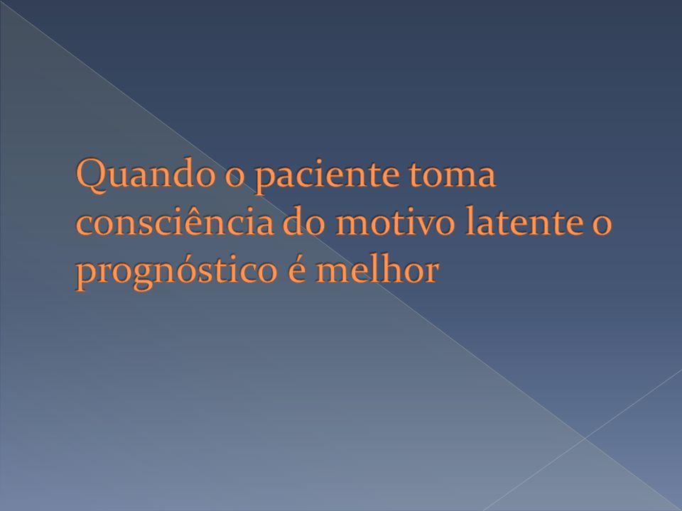 Quando o paciente toma consciência do motivo latente o prognóstico é melhor