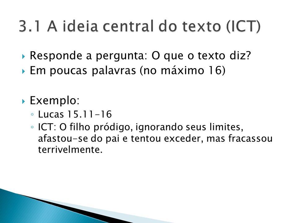 3.1 A ideia central do texto (ICT)