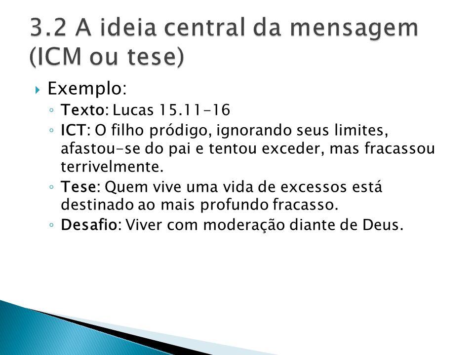 3.2 A ideia central da mensagem (ICM ou tese)