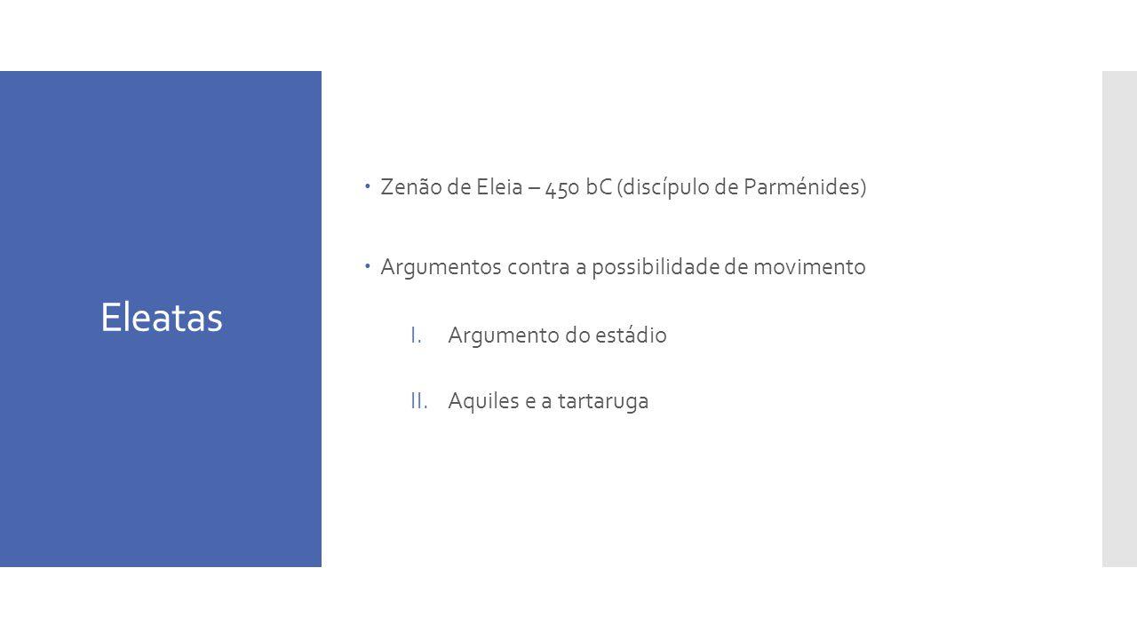 Eleatas Zenão de Eleia – 450 bC (discípulo de Parménides)