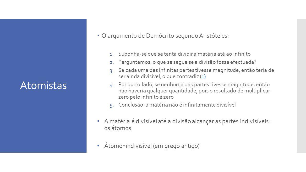 Atomistas O argumento de Demócrito segundo Aristóteles: