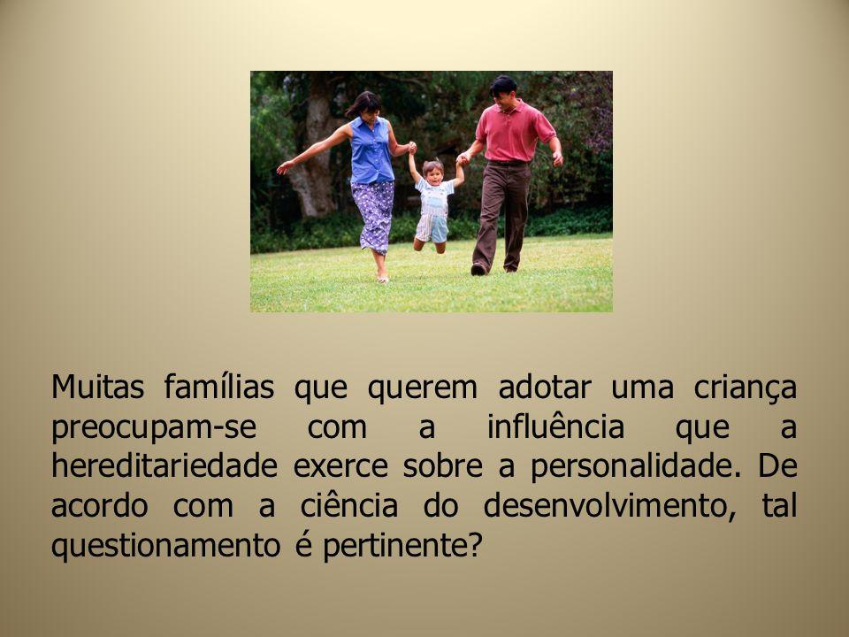 Muitas famílias que querem adotar uma criança preocupam-se com a influência que a hereditariedade exerce sobre a personalidade.