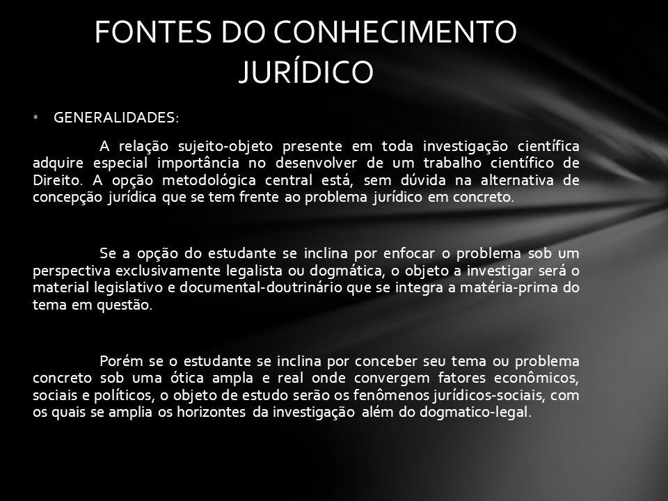 FONTES DO CONHECIMENTO JURÍDICO