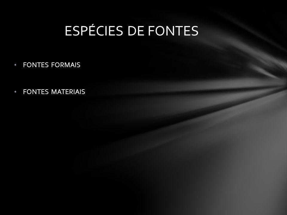 ESPÉCIES DE FONTES FONTES FORMAIS FONTES MATERIAIS