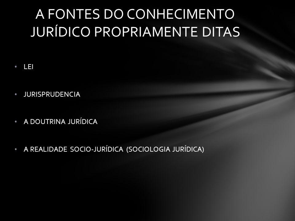A FONTES DO CONHECIMENTO JURÍDICO PROPRIAMENTE DITAS