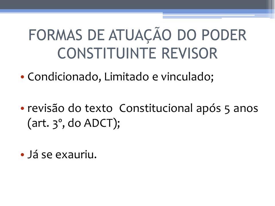 FORMAS DE ATUAÇÃO DO PODER CONSTITUINTE REVISOR