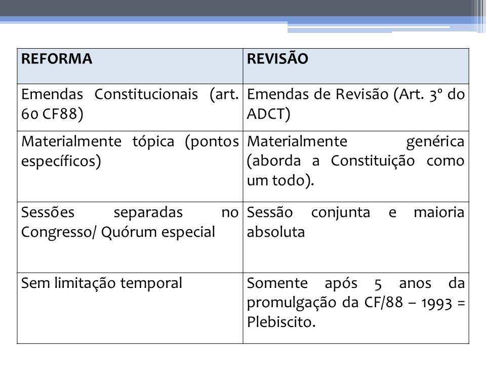 REFORMA REVISÃO. Emendas Constitucionais (art. 60 CF88) Emendas de Revisão (Art. 3º do ADCT) Materialmente tópica (pontos específicos)