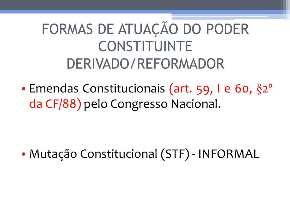 FORMAS DE ATUAÇÃO DO PODER CONSTITUINTE DERIVADO/REFORMADOR