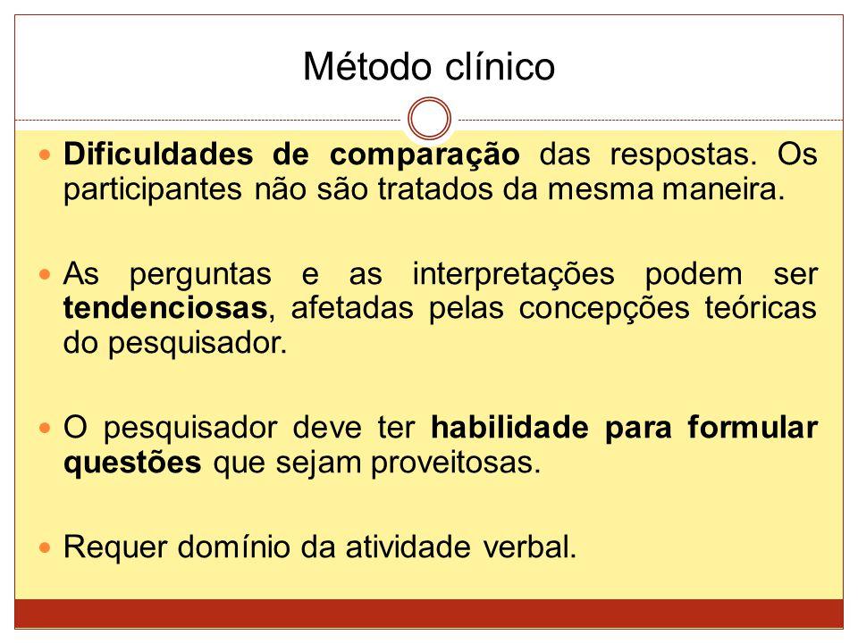 Método clínico Dificuldades de comparação das respostas. Os participantes não são tratados da mesma maneira.