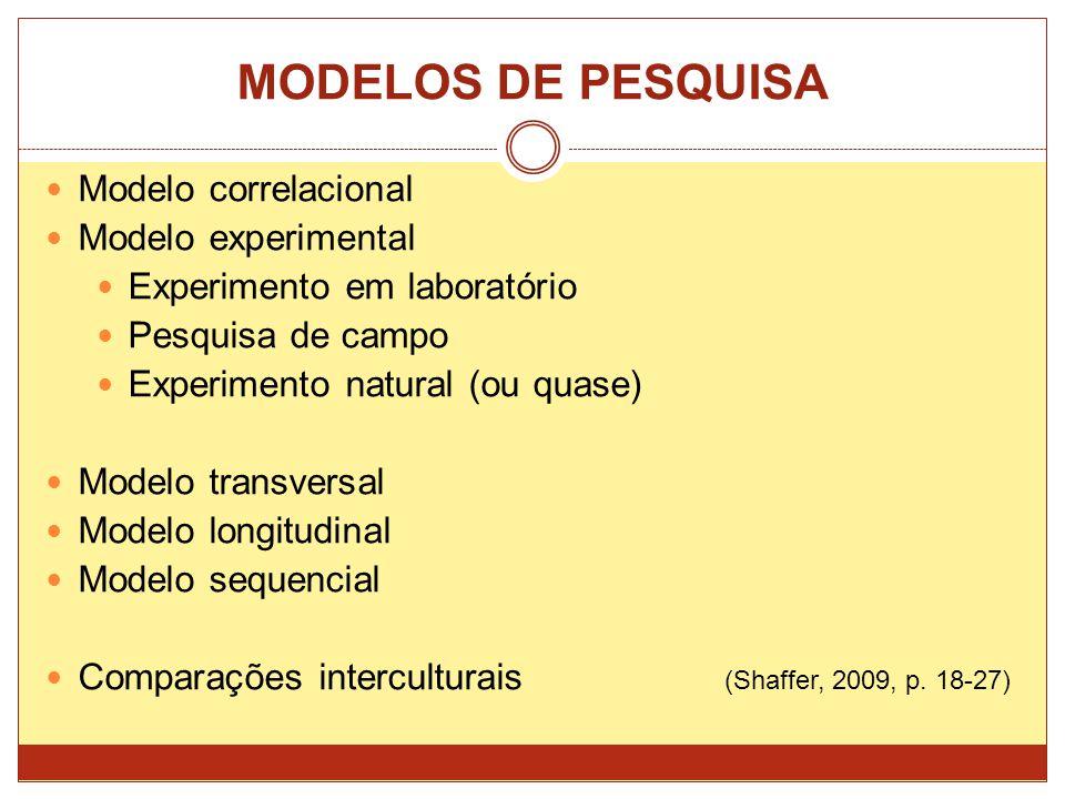 MODELOS DE PESQUISA Modelo correlacional Modelo experimental