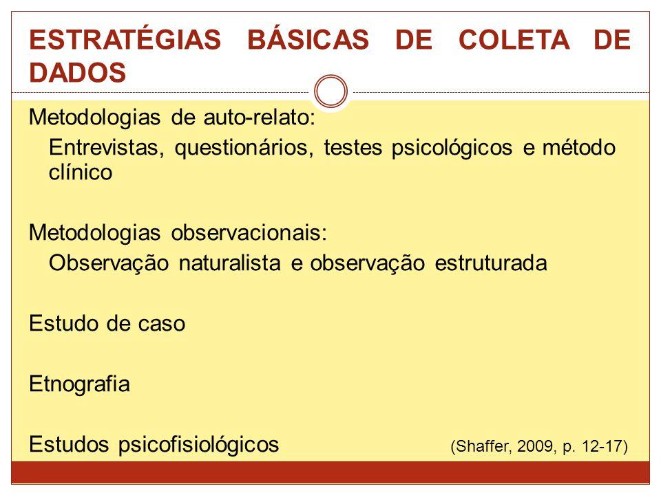 ESTRATÉGIAS BÁSICAS DE COLETA DE DADOS