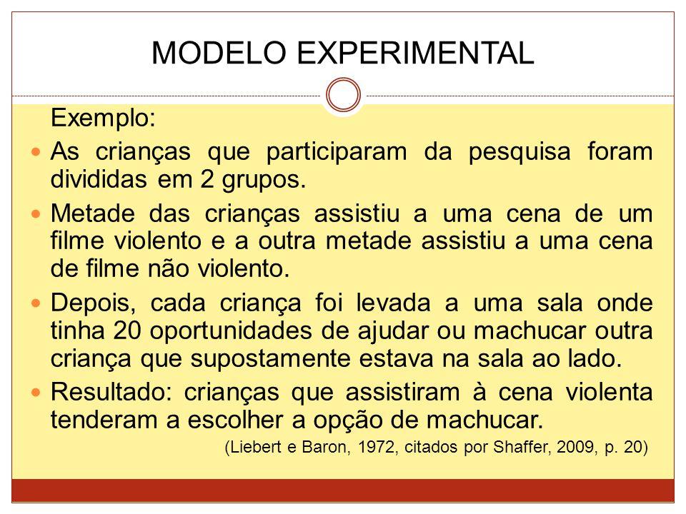 MODELO EXPERIMENTAL Exemplo: