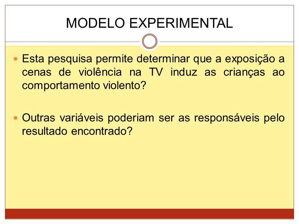 MODELO EXPERIMENTAL Esta pesquisa permite determinar que a exposição a cenas de violência na TV induz as crianças ao comportamento violento