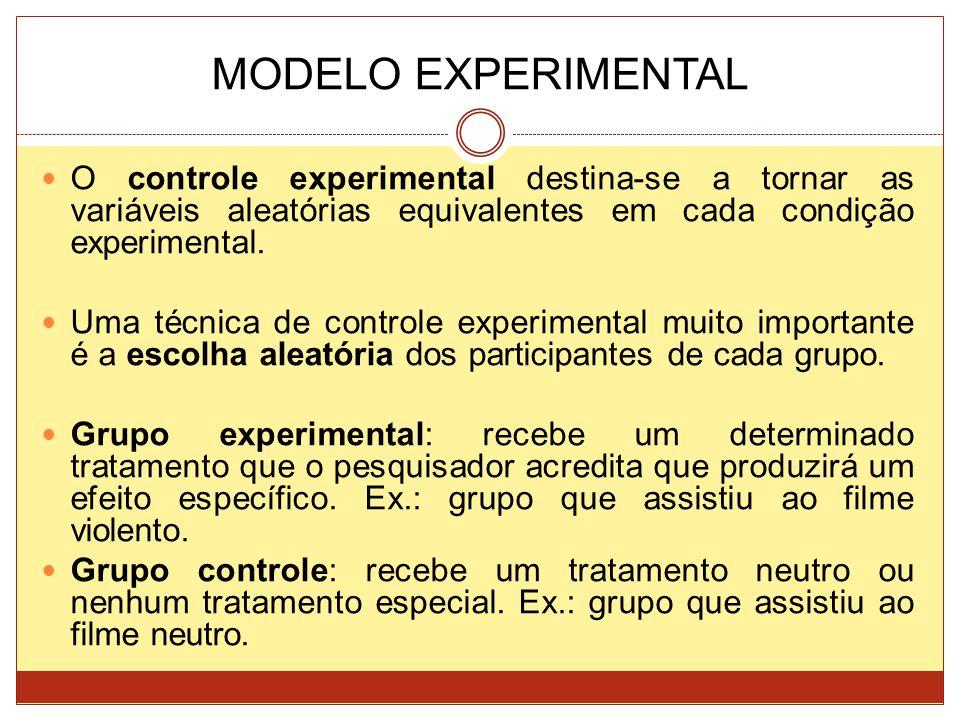 MODELO EXPERIMENTAL O controle experimental destina-se a tornar as variáveis aleatórias equivalentes em cada condição experimental.