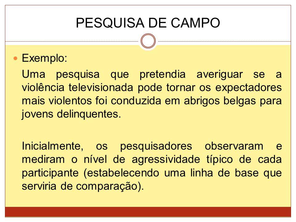 PESQUISA DE CAMPO Exemplo: