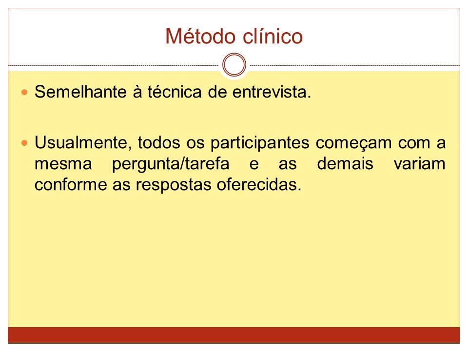 Método clínico Semelhante à técnica de entrevista.