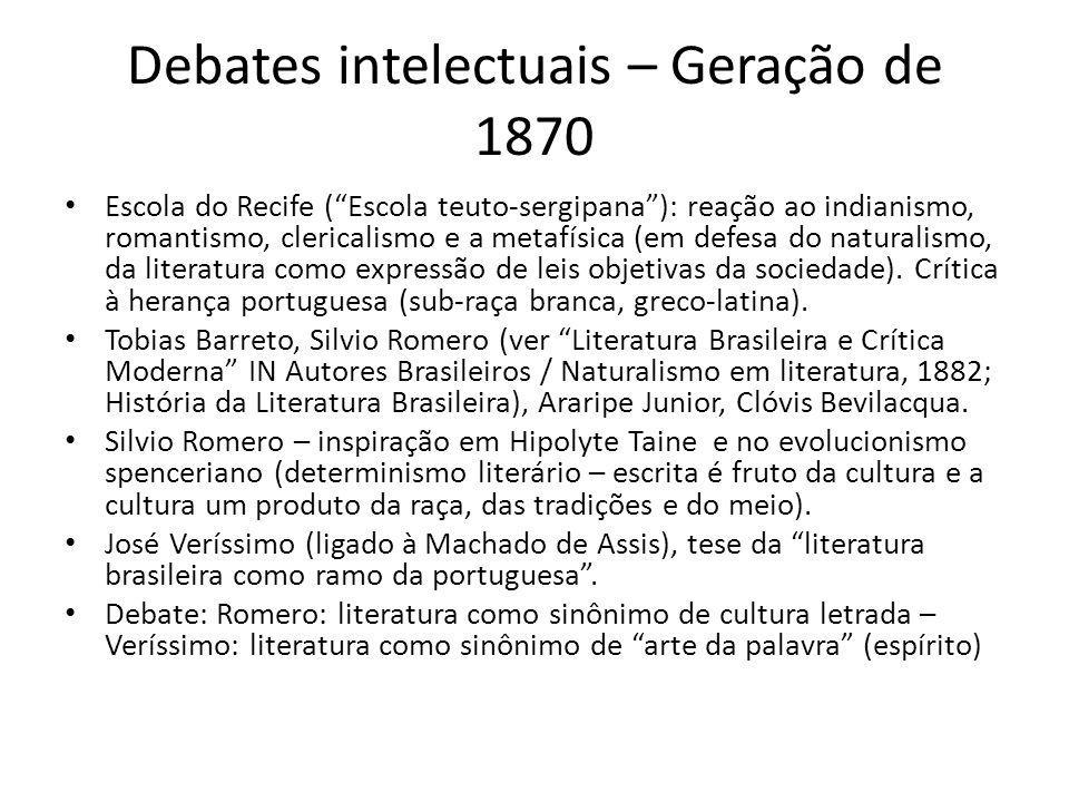 Debates intelectuais – Geração de 1870