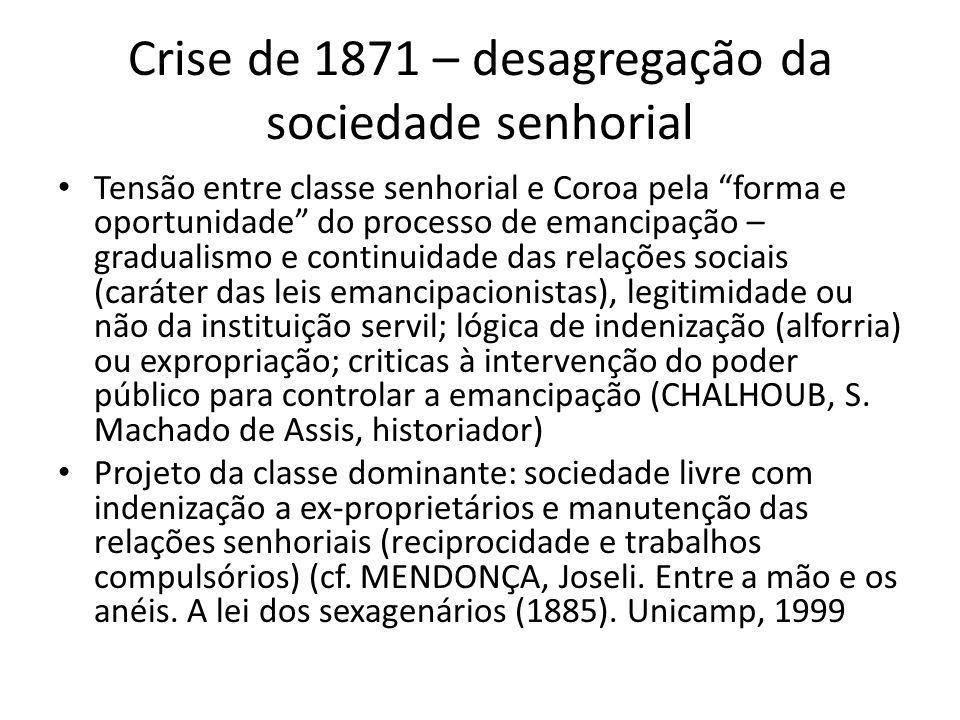 Crise de 1871 – desagregação da sociedade senhorial