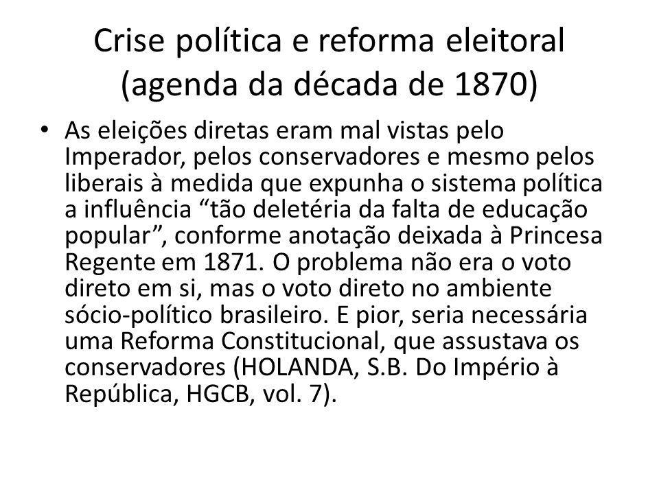 Crise política e reforma eleitoral (agenda da década de 1870)