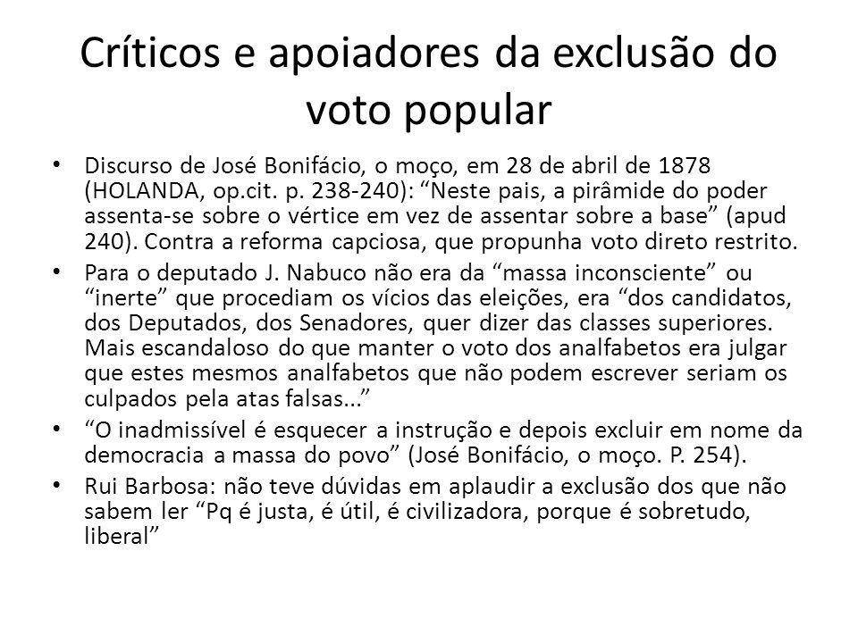 Críticos e apoiadores da exclusão do voto popular