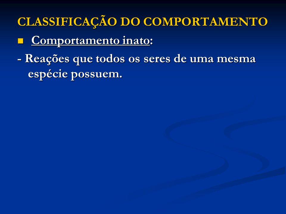 CLASSIFICAÇÃO DO COMPORTAMENTO