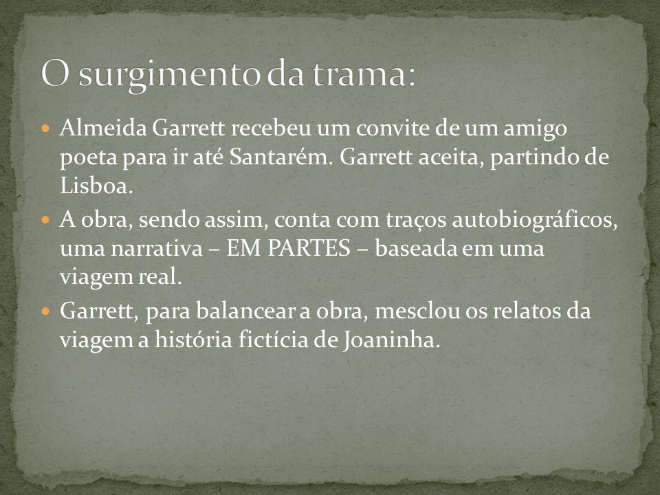O surgimento da trama: Almeida Garrett recebeu um convite de um amigo poeta para ir até Santarém. Garrett aceita, partindo de Lisboa.