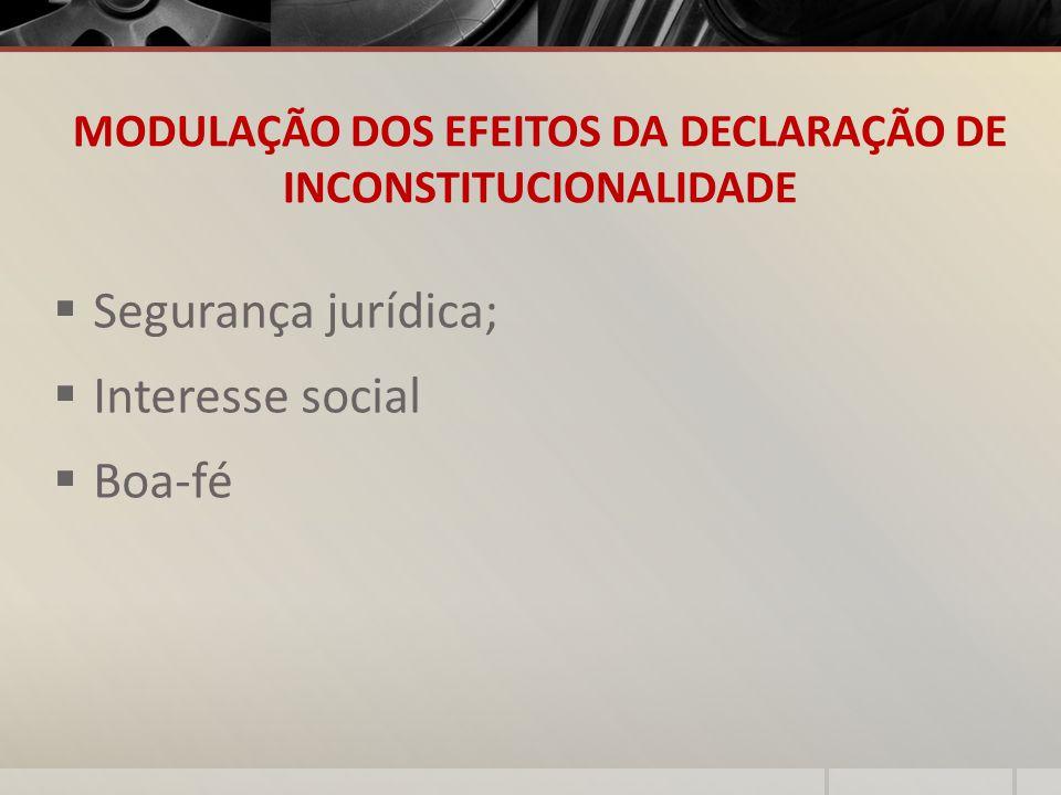 MODULAÇÃO DOS EFEITOS DA DECLARAÇÃO DE INCONSTITUCIONALIDADE