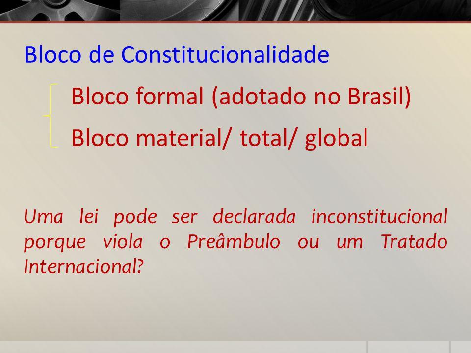 Bloco de Constitucionalidade Bloco formal (adotado no Brasil)