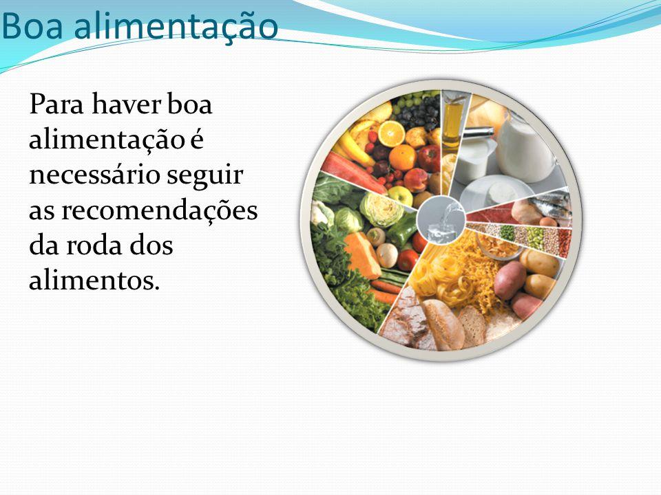 Boa alimentação Para haver boa alimentação é necessário seguir as recomendações da roda dos alimentos.