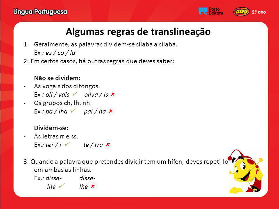 Algumas regras de translineação